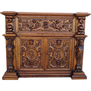 19th Century French Antique Gothic Sideboard Server Cabinet Antique Furniture
