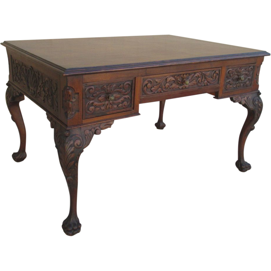 19th century carved chippendale desk with pawed feet for Antique furniture desk