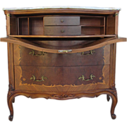 French Antique Drop Leaf Desk Dresser with Onyx Top