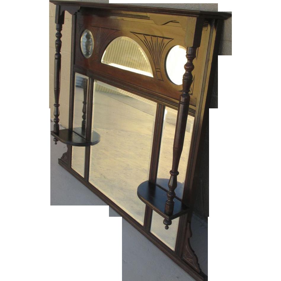 Antique Furniture Beautiful Victorian Mahogany Mantel Mirror