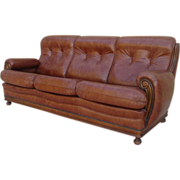 Vintage French Leather Sofa with Walnut Accents Vintage Furniture