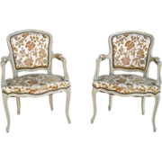 Lovely Pair of French Painted Chairs Armchairs