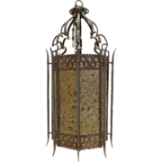Large Spanish Antique Iron Hanging Light Hanging Lantern Chandelier