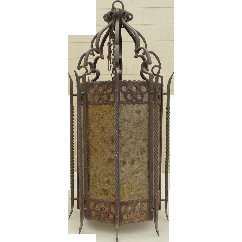 Large Spanish Antique Iron Hanging Light Hanging Lantern Chandelier