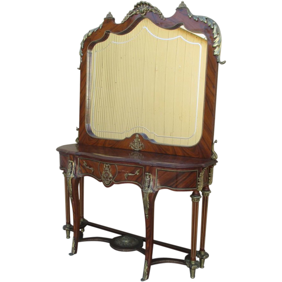 French Antique Louis XVI Style Console with Mirror and Ormolu Accents