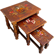 Spanish Antique Painted Leather Top Stacking Tables Nesting Tables