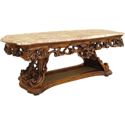 Italian Antique Coffee Table With Marble Top