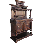French Antique Marble Top Gothic Server Sideboard Cabinet