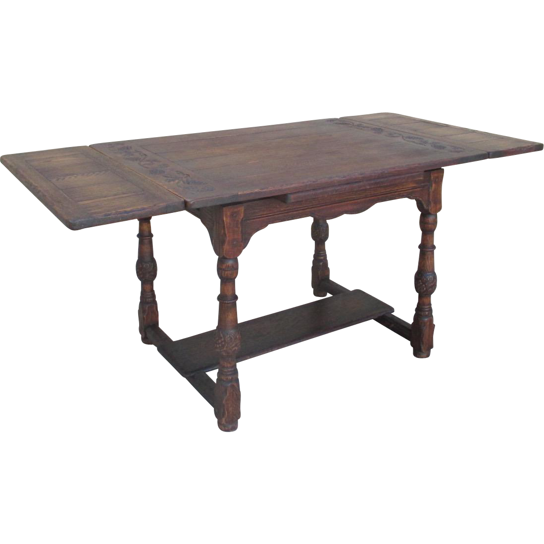 Spanish style oak cottage dining table with leaves sold on for Table in spanish