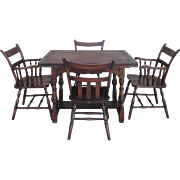 Handsome Spanish Style Oak Table and Four Chairs Antique Furniture