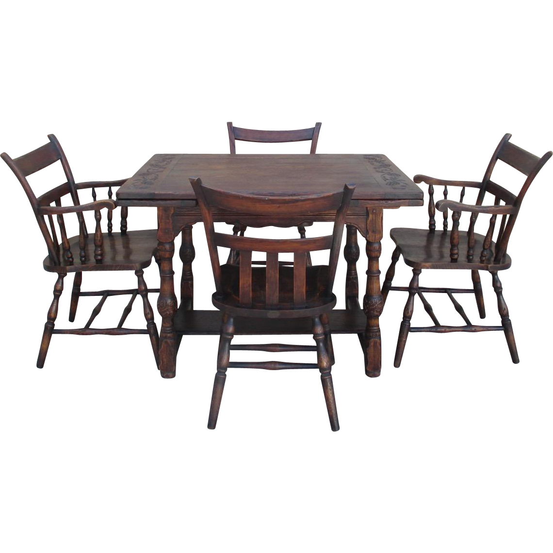 Handsome Spanish Style Oak Table and Four Chairs Antique  : VR 04211L from rubylane.com size 1140 x 1140 png 738kB