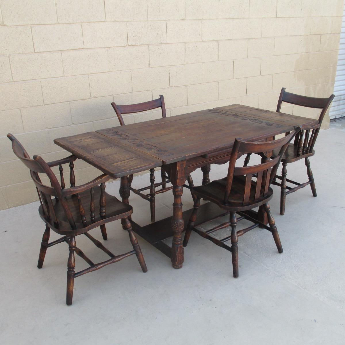 Handsome spanish style oak table and four chairs antique for Table 52 oak brook