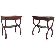 Pair of Leather Top Walnut Lamp Tables End Tables Bedside Tables