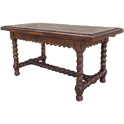 French Antique Carved Barley Twist Dining Table Writing Table Console Table