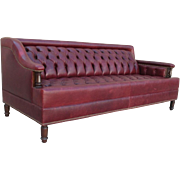 English Chesterfield Leather Sofa Gentleman's Pub Sofa Couch