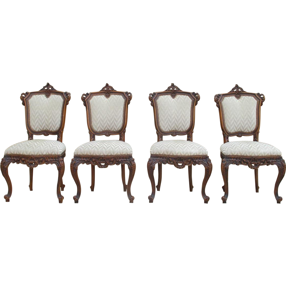 Italian Antique Highly Carved Walnut Dining Chairs Set of Four