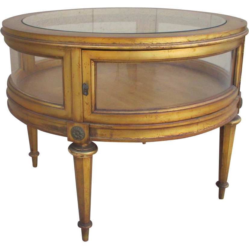 French Style Gilded Round Display Table Side Table Accent Table Display Case