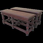 Pair of English Antique Walnut Benches Antique Furniture