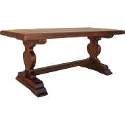 French Antique Heavy Top Trestle Dining Table Writing Table