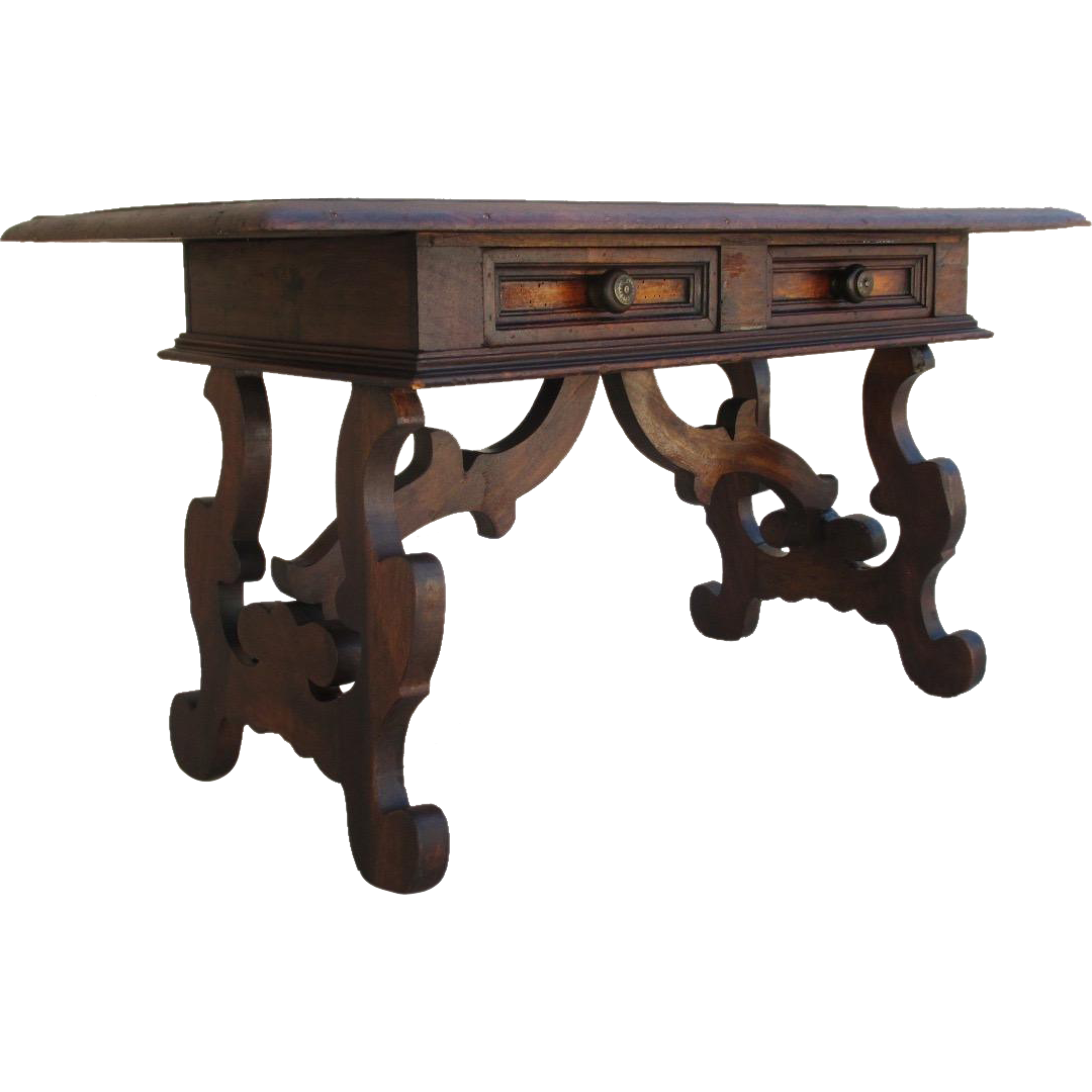 Spanish Revival Antique Two Drawer Coffee Table Bench Antique Furniture