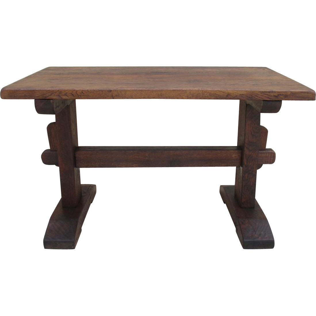 French Antique Petite Rustic Trestle Table Writing Table
