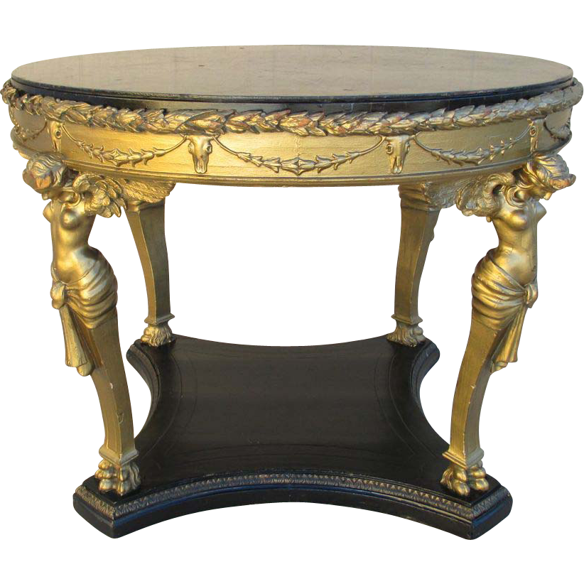 Victorian Gilt-wood Center Table with Angels and Faux Marble Top