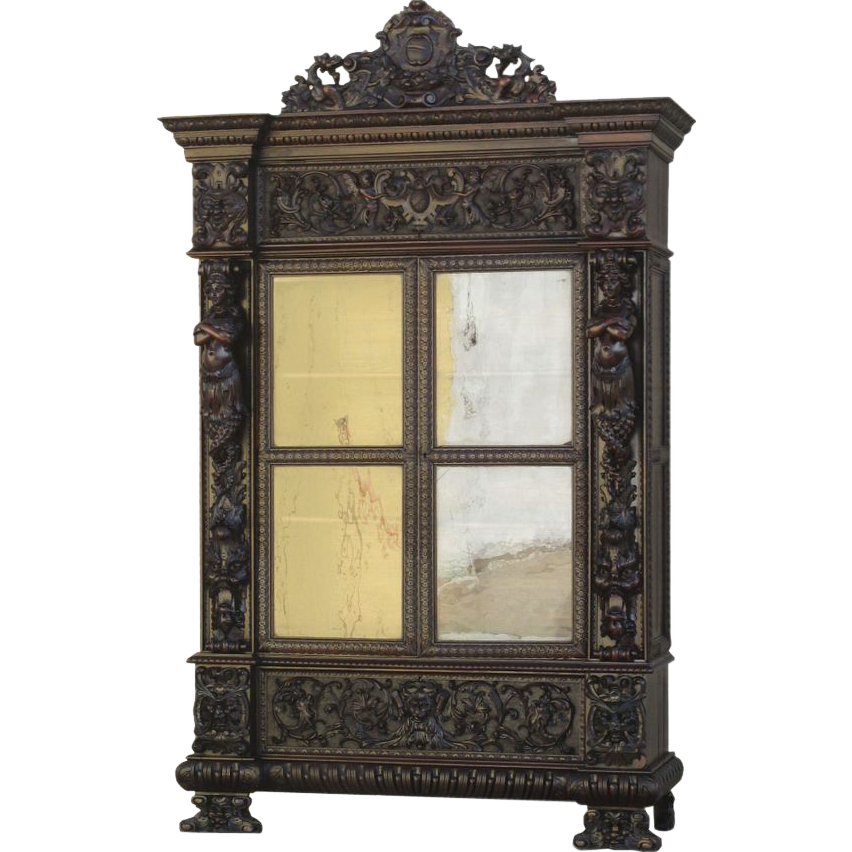 French Antique Gothic Ornate Mermaid Bookcase Cabinet Display Case Antique Furniture