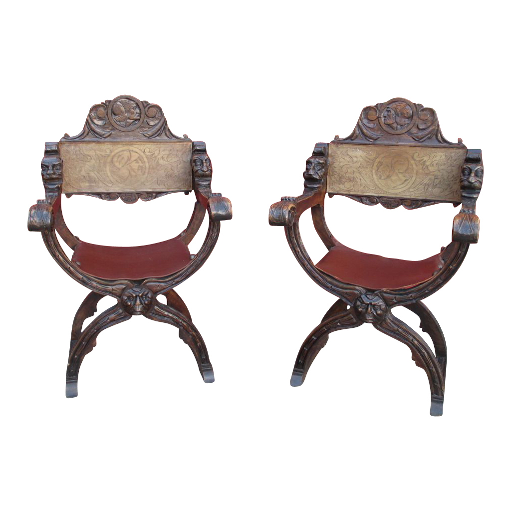 Italian Antique Savonarola Chairs with Leather Antique Furniture