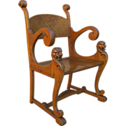 Antique Oak Chair Armchair with Carved Lion's Heads