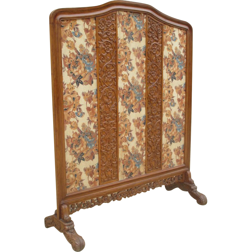 Antique Victorian Carved Tall Floor Screen Room Divider Antique Furniture