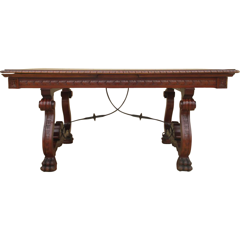 Spanish Antique Dining Table Writing Table With Iron Stretcher