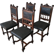 French Antique Leather Dining Chairs