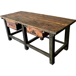 French Antique Primitive Two Drawer Castle Table