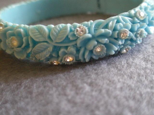 Vintage Blue Molded Floral Celluloid & Diamond Rhinestone Bangle Bracelet