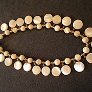 "Signed ""Napier"" Faux Mother-of-Pearl Choker Necklace"