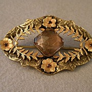 Victorian Brass Open-Work Brooch w/Colored Glass Sets