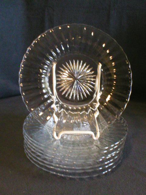 "Set of 6 - Heisey Crystal (Clear) ""Coarse Rib"" Pattern Salad/Dessert Plates"
