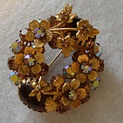 Regency Jewels AB Rhinestone, Cabochon & Gold-tone Floral Wreath Brooch