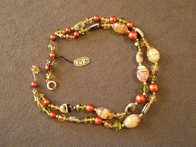 Regency Double-Strand Necklace of Art Glass, Aurora Borealis & Gold-Tone Beads