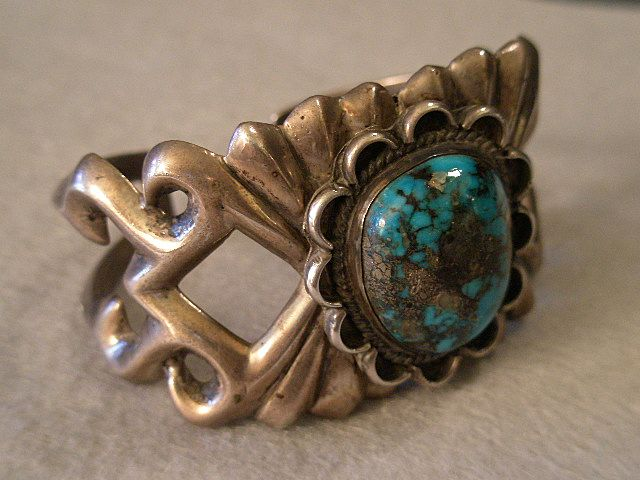 American Indian Sand-Cast Silver & Turquoise Cuff Bracelet