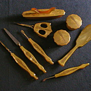 9 Piece Set of Celluloid Art Deco Vanity & Manicure Items