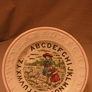 "English Staffordshire ""A.B.C"" Children's Plate w/Children & Sheep Transfer"