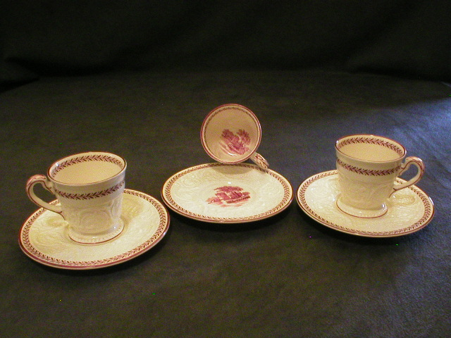 "Set of 3 Demi-Tasse Cups & Saucers, Wedgwood ""Paignton"" on Patrician Blank"