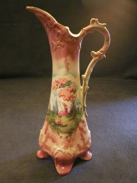 Czechoslovakian Transfer Decorated Ewer w/Pastoral Scene