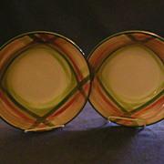 "Vernon Kilns ""Tam O'Shanter"" Pattern (2) Round Open Vegetable Bowls"