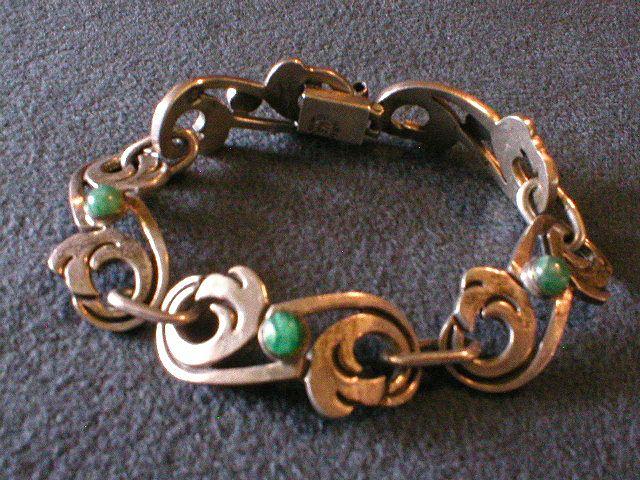 Vintage Signed Mexican Sterling Silver w/Cabochon Link Bracelet