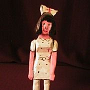 Folk Art Carving of Red Cross Nurse Figure