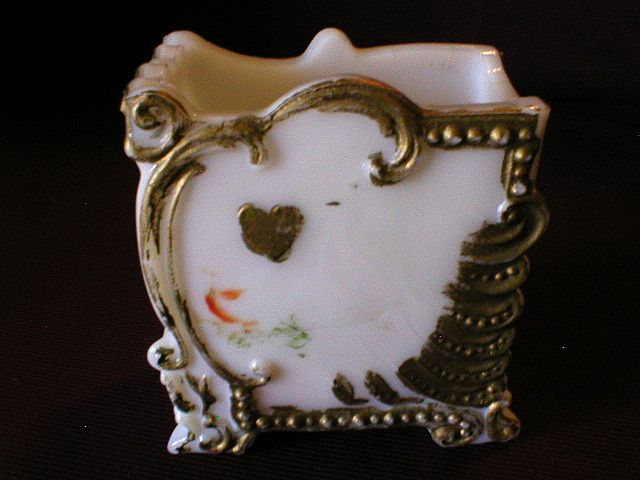 Milk Glass Hand Painted Playing Card Holder