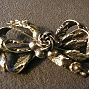 Hobe Sterling Silver Bow Brooch w/Roses and Leaves