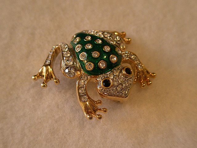 "Gold-Tone, Enameled ""Frog"" Brooch Set w/Clear Rhinestones"